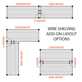 wire shelving layout options