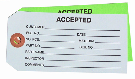 #5 - Plain - Accepted QC tag, Inspection Tag