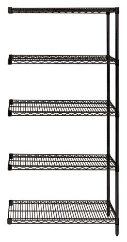 "74"" Black Wire Shelving - 5 Shelves Starter Unit"