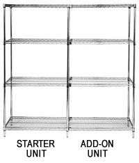 "74"" Chrome Wire Shelving - 5 Shelves Starter Unit"