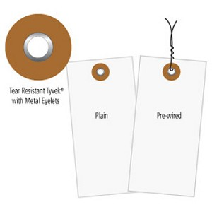 Tyvek Shipping Tags - Pre-Wired White